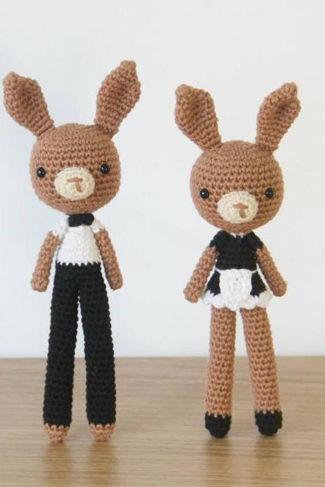 Costume Bunny Waiter Waitress Amigurumi Crochet Pattern Set